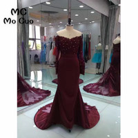 2017 New Arrival Burgundy Prom Dresses Long Sleeves Beaded Crystals Count Train Formal Evening Party Dress