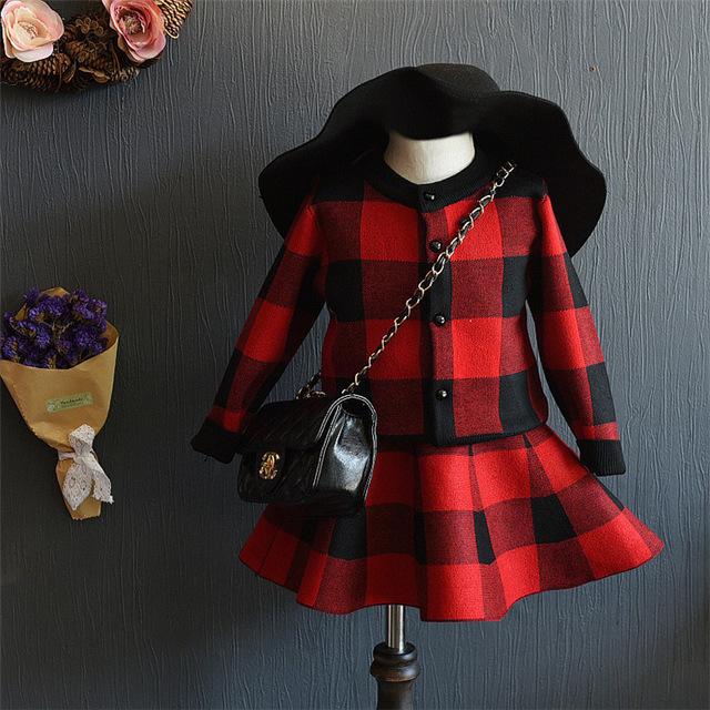 Conjunto de roupas meninas do bebê 2016 estilo inglaterra primavera outono meninas xadrez longa manga do casaco de lã e saia 2 pcs set crianças roupas