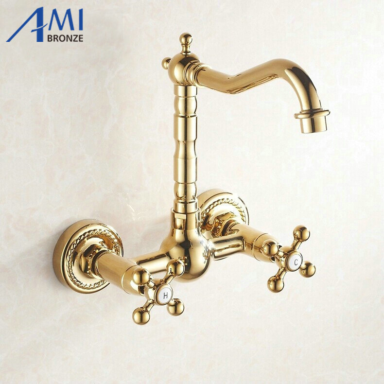 ФОТО Golden Wall Mounted Faucets Kitchen swivel faucet Sink Bathroom Basin Mixer Tap  9058G