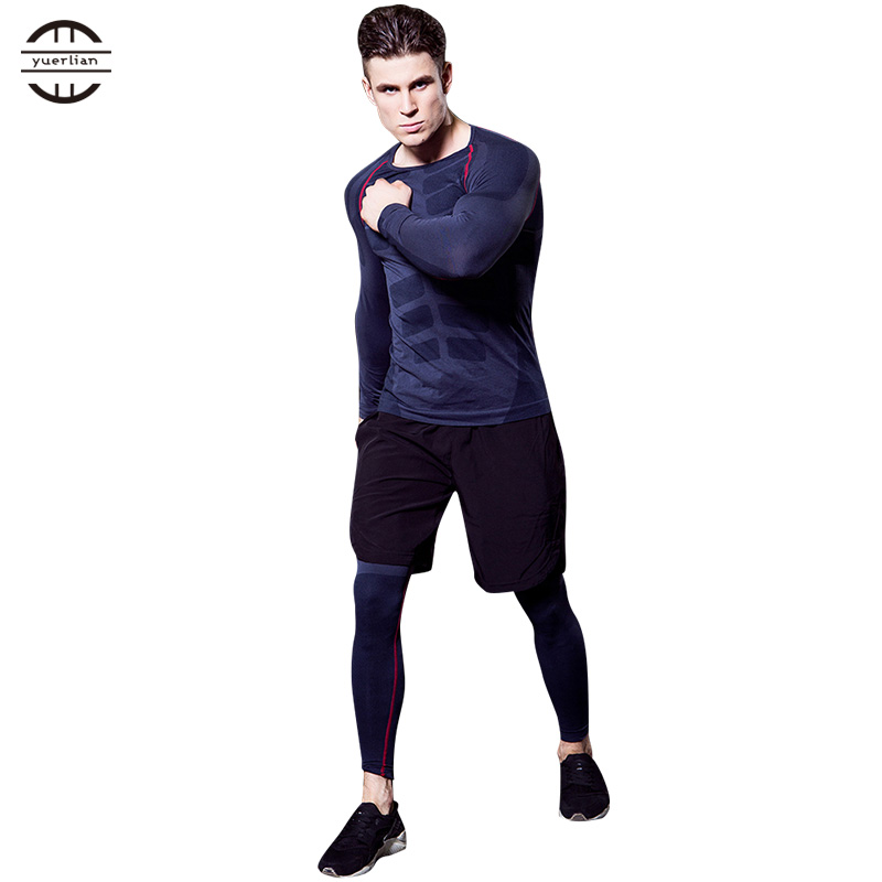Image 3 - Yuerlian Quick Dry 3 pcs Compression Tights Tracksuit Men Train Fitness Long Sleeve Shirt Pant O Neck Gym Running Sport Suit-in Running Sets from Sports & Entertainment on AliExpress
