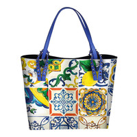 Luxury Italy Brand Sicily Ethnic Style Bag Leather Sicilian Women Shopper Tote Famous Designer Printed Shoulder Bag Big Handbags