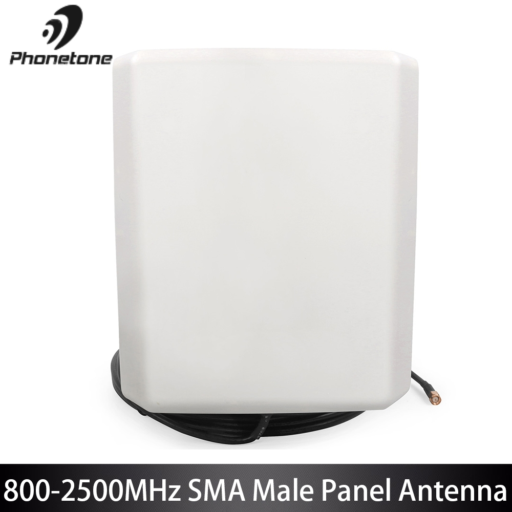3G GSM Repeater 800-2500MHz 7.0-9.0dBi Outdoor Phone Panel Antenna For Cellular Signal Booster With SMA Male Connector 10M Cable