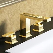 """PVD золото """" широко распространенный Керамический клапан три отверстия 3 шт. санузел ванная раковина кран смеситель квадратный дизайн бортике"""
