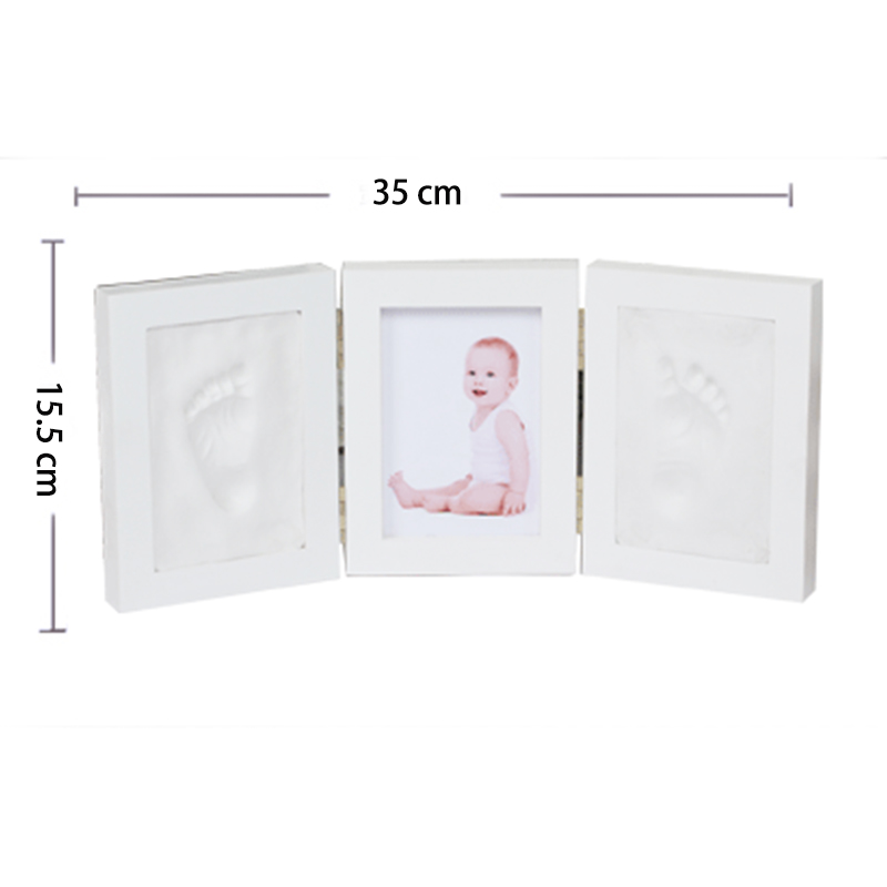Купить с кэшбэком Cute Baby Photo frame DIY handprint Imprint Air Drying Soft Clay Footprint Kids Casting Parent-child hand inkpad fingerprint