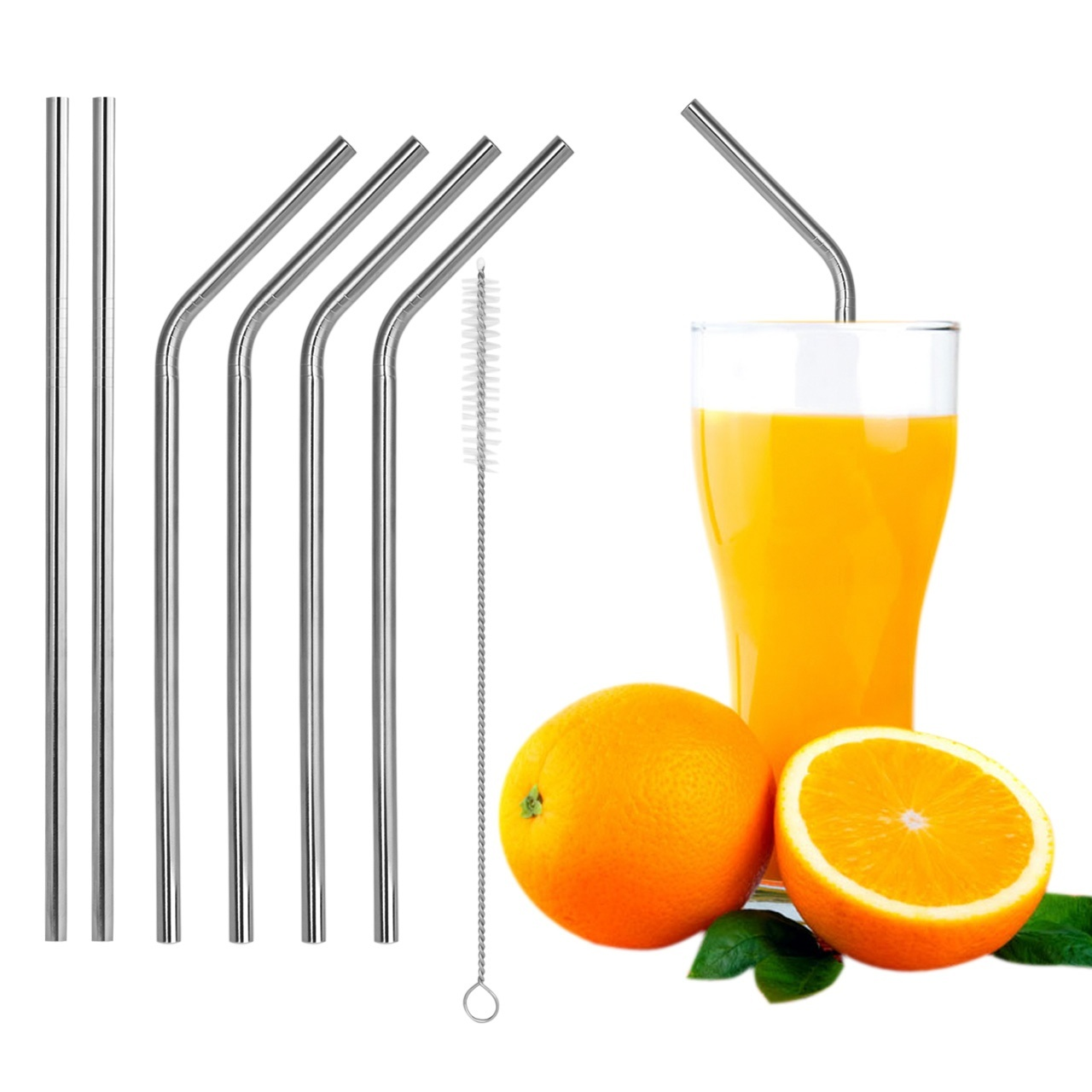 <font><b>6</b></font> Pcs Straight/ Bent <font><b>Stainless</b></font> Steel Drinking Straws For <font><b>Yeti</b></font> 30oz <font><b>Tumbler</b></font> With 1 Pc Cleaning Cleaner Brush