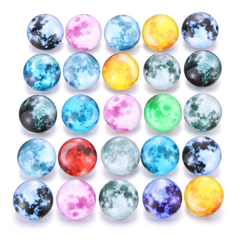 10 шт./лот, смешанные цвета и узор, 18 мм, стеклянные кнопки, ювелирное изделие, граненое стекло, оснастка, подходят, оснастки, серьги, браслет, ювелирное изделие - Окраска металла: AB214