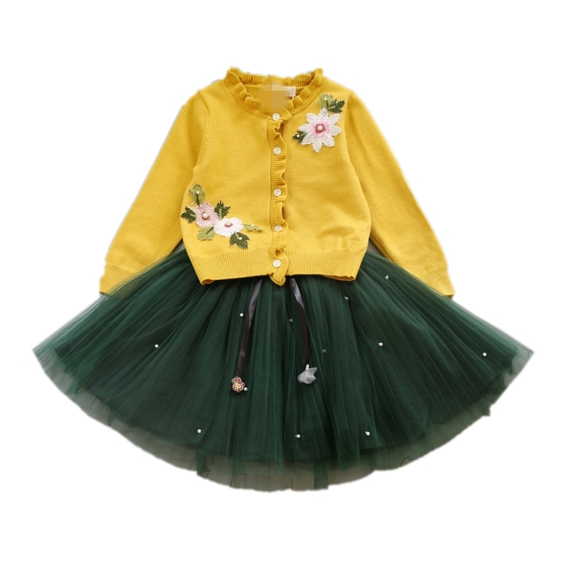 Autumn Baby Girl Clothes Girls Clothing Sets Long Sleeve Embroidery Flowers Knit Sweater Cardigan + Yarn Skirt 2pcs Girls Suits humor bear baby girl clothes set new sequins letter long sleeve t shirt stars skirt 2pcs girl clothing sets kids clothes