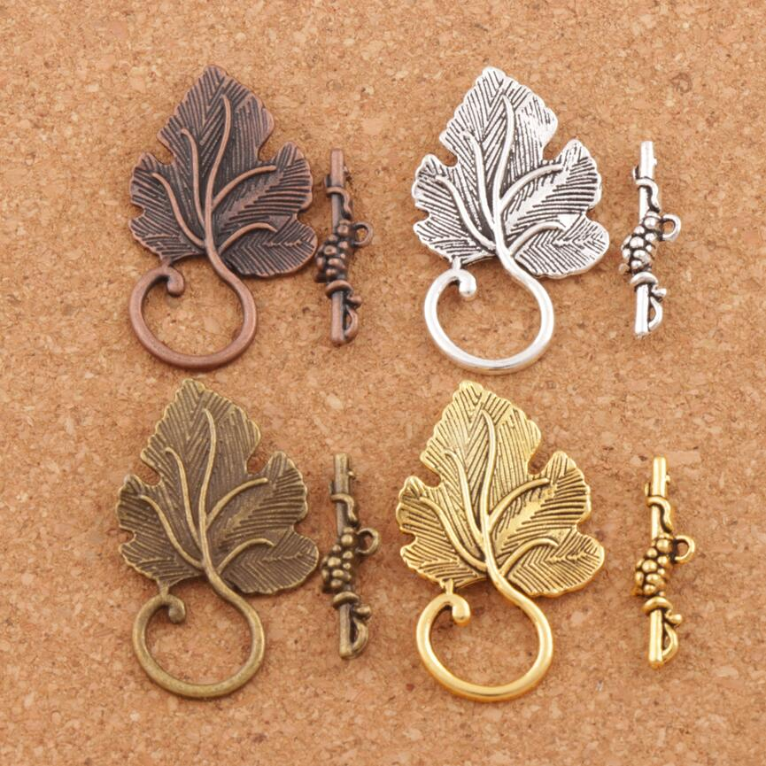 Grape Leaf Alloy Toggle Clasp Jewelry Findings Fit Bracelets L872 7sets Antique Silver/Bronze/Copper/Gold