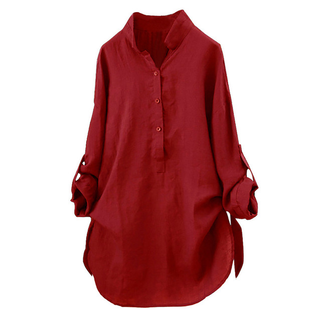 5ab0a10d FeiTong Blouses for Woman 2018 Cotton Solid Long Sleeve Shirt Women Casual  Loose Button Down Womens Tops and Blouses Feminina