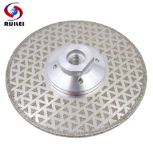 RIJILEI Electroplated Diamond Saw Blade Galvanized diamond cutting and grinding disc both sides For Marble Granite ceramic tile a30 diamond profiling wheels with m10 arbor diamond grinding wheels for granite and marble