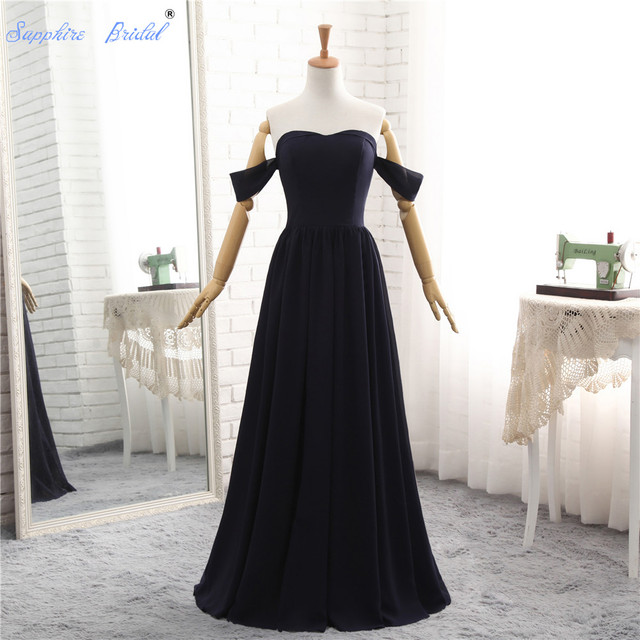Sapphire Bridal 2018 New Navy Blue Formal Evening Gowns Simple A ...