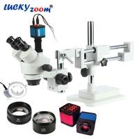 Luckyzoom 3.5X 90X Simul Focal Double Boom Stand Trinocular Stereo Zoom Microscope 14MP HDMI Camera 144pc Ring Light Microscopio
