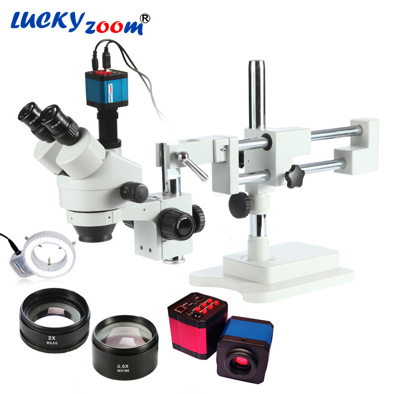 Luckyzoom 3.5X-90X simul-focal doble Boom Stand Zoom microscopio estéreo Trinocular 14MP Cámara HDMI 144 Unid anillo luz Microscopio