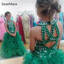 New Green Girls Pageant Dresses Glizta Cupcake Dresses Sequins Beaded Puffy Organza Girls Pageant Gowns for Kids Custom Made handmade babies rainbow tutu bowknot toddler little girls pageant dresses soft net organza short mini cupcake girls dresses