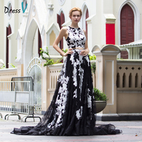 Dressv Scoop Neck Black Long Evening Dress Vintage A Line Sleeveless Appliques Zipper Up Evening Dress