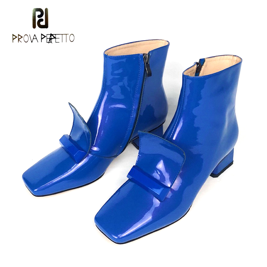 Prova Perfetto european runway style genuine leather short boots women square toe med heel ankle boots side zipper winter shoesProva Perfetto european runway style genuine leather short boots women square toe med heel ankle boots side zipper winter shoes