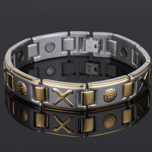 Fashion Business Mens Titanium Steel Bracelet Wide Bully Magnet Health Stainless Jewelry