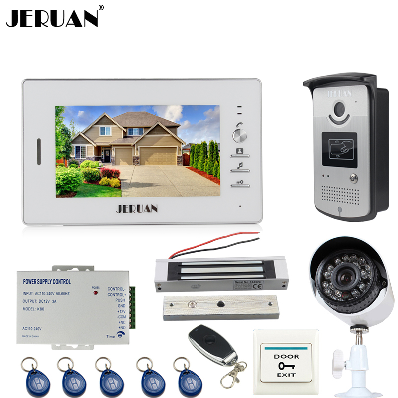 JERUAN NEW 7`` Video Intercom Door Phone System 1 White Monitor+RFID Access Camera + 700TVL Analog Camera +power+remote control jeruan home 7 video door phone intercom system kit 1 white monitor metal 700tvl ir pinhole camera rfid access control in stock