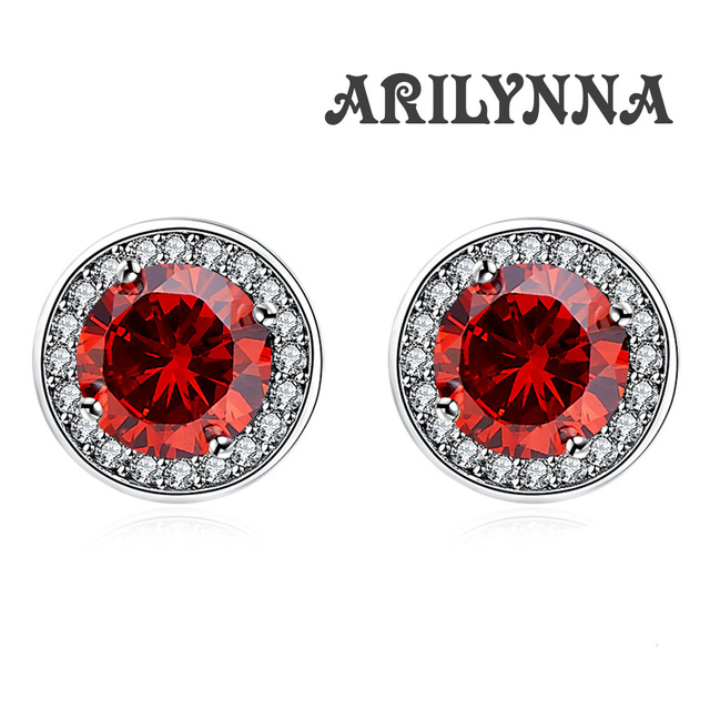 Arilynna 925 Silver Round Red Colour Crystal Wonmen Female Earring Original Jewelry