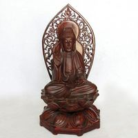 V Grenadilla wood carving crafts mahogany Home Furnishing feng shui ornaments lotus lotus Guanyin Buddha