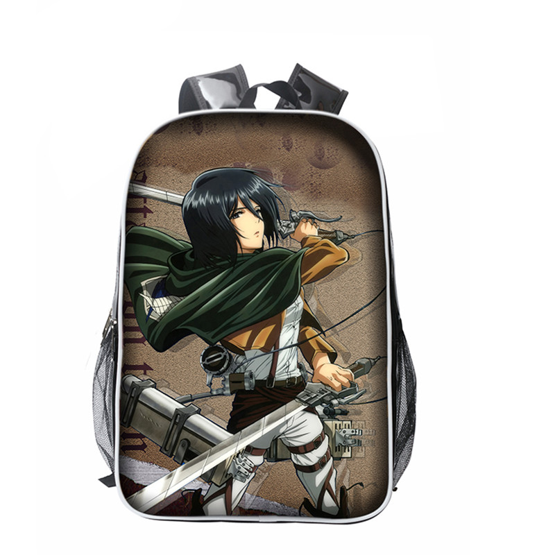 Attack on Titan Schoolbag Shingeki no Kyojin Levi Mikasa Ackerman Print Anime Cosplay Shoulders Bags Backpacks все цены