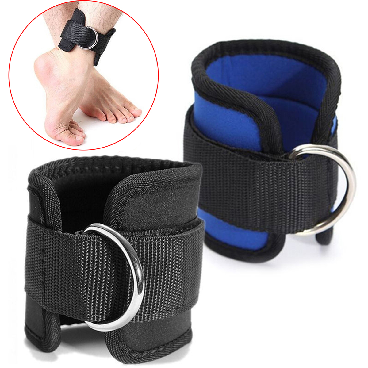 Nyeste D-ring ankelrem Buckle Body Building Modstand Band Gym Multi Lår Leg Ankel Cuffs Power Vægtløftning Fitness Rope