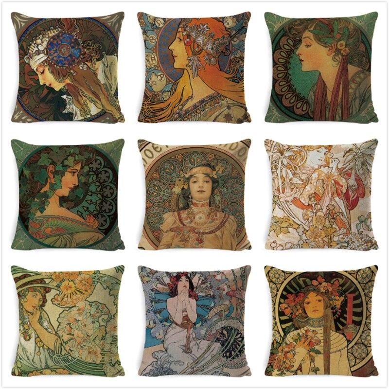 Vintage européenne housse de coussin Art Nouveau Mucha galerie housse de coussin maison décorative belle fille modèle taie d'oreiller en lin