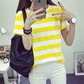 2017 Verano Nueva camiseta de Las Mujeres de Moda de Corea Dulce Pequeño Fresco Blanco y Amarillo A Rayas de manga Corta Camisetas Mujer S-XL tamaño