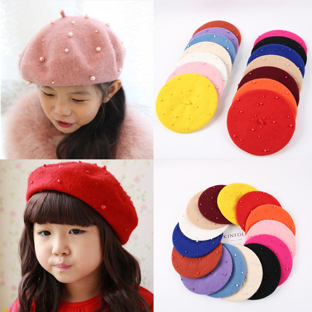 Baby Girls Boinas Boina Feminina Hipster Pearl Wool Felt Beret Multicolor Painter Cute Hat For Children