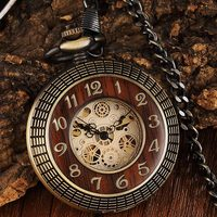 Retro Wood Circle Mechanical Men Pocket Watch Hand Vintage Steampunk Fob Necklace Clock Male Chain For Ladies Boyfriends Gift