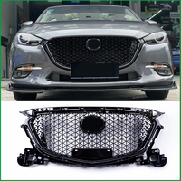 For Mazda 3 M3 Axela 2017 FRONT Bumper Glossy Black RACING GRILLE Grills Cover Trim Car Styling ACCESSORIES GRILL