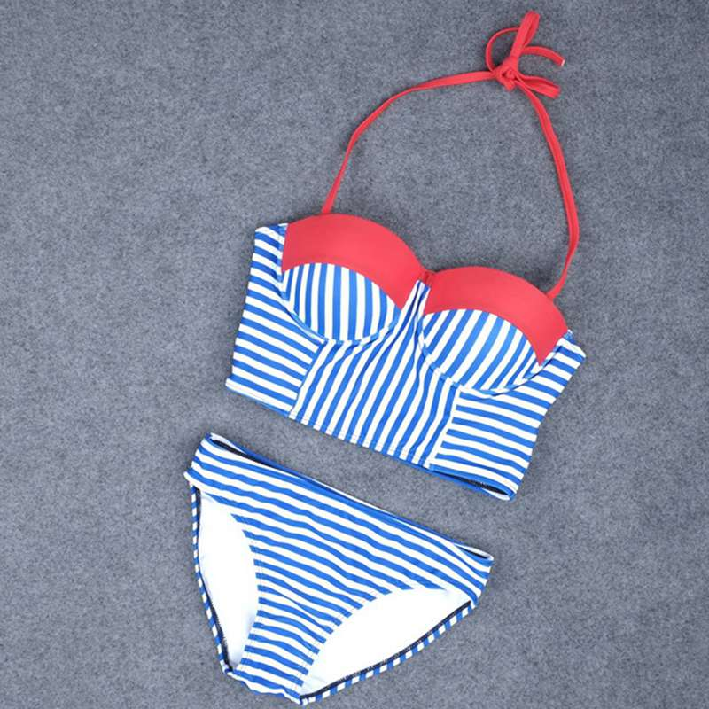 Calofe Women string bikini Set Summer Sexy Halter Cross Bandage Beach Swimwear Swimsuit Striped Blue White Bathing Suit cupshe heated love in desert cross back bikini set women summer sexy swimsuit ladies beach bathing suit swimwear