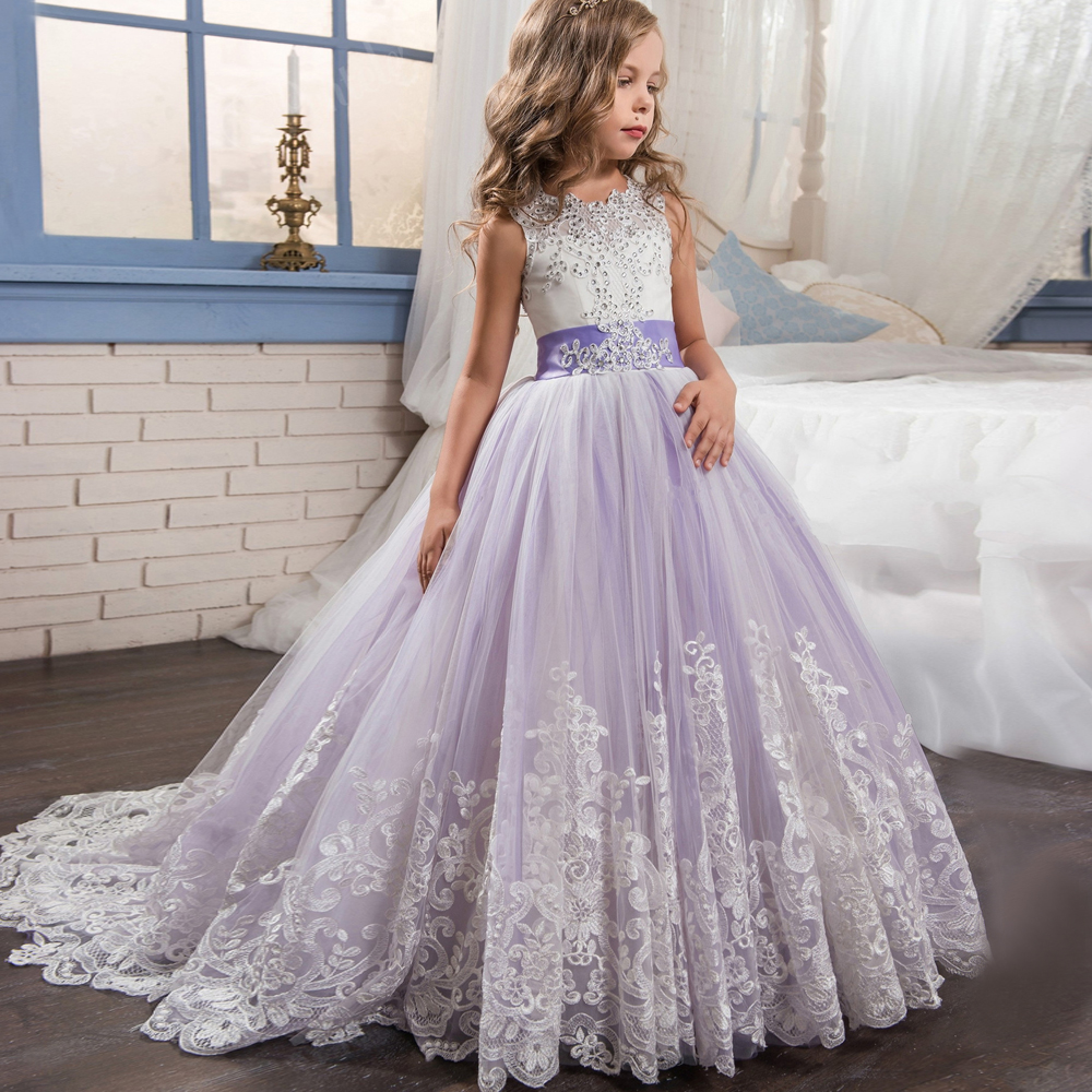 Sweet Purple Crystal Bow Beading Lace   Flower     Girl     Dresses   For Wedding Long   Girls   First Communion Gowns Special Occasion   Dresses