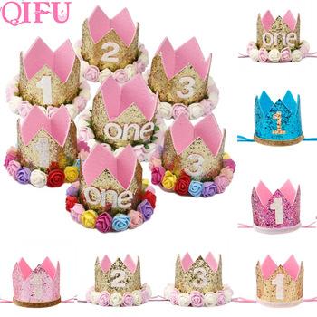 QIFU urodzinowe kapelusze Decor Cap jedno pierwsze urodziny kapelusz księżniczka korona 1st 2nd 3rd rok stary numer dekoracje na imprezę urodzinową dla dzieci tanie i dobre opinie Gender Reveal Christening Baptism Party Birthday Party Children s Day Chłopiec i Dziewczynka W1170 Non-woven Fabrics