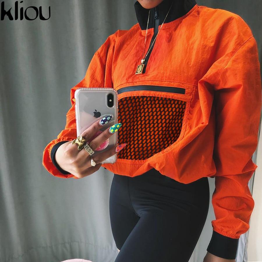 Kliou Long Sleeve Mesh Pocket Patchwork Collar Zipper T Shirt 2018 Summer Autumn Women Fashion Loose Casual Female Sweatshirt