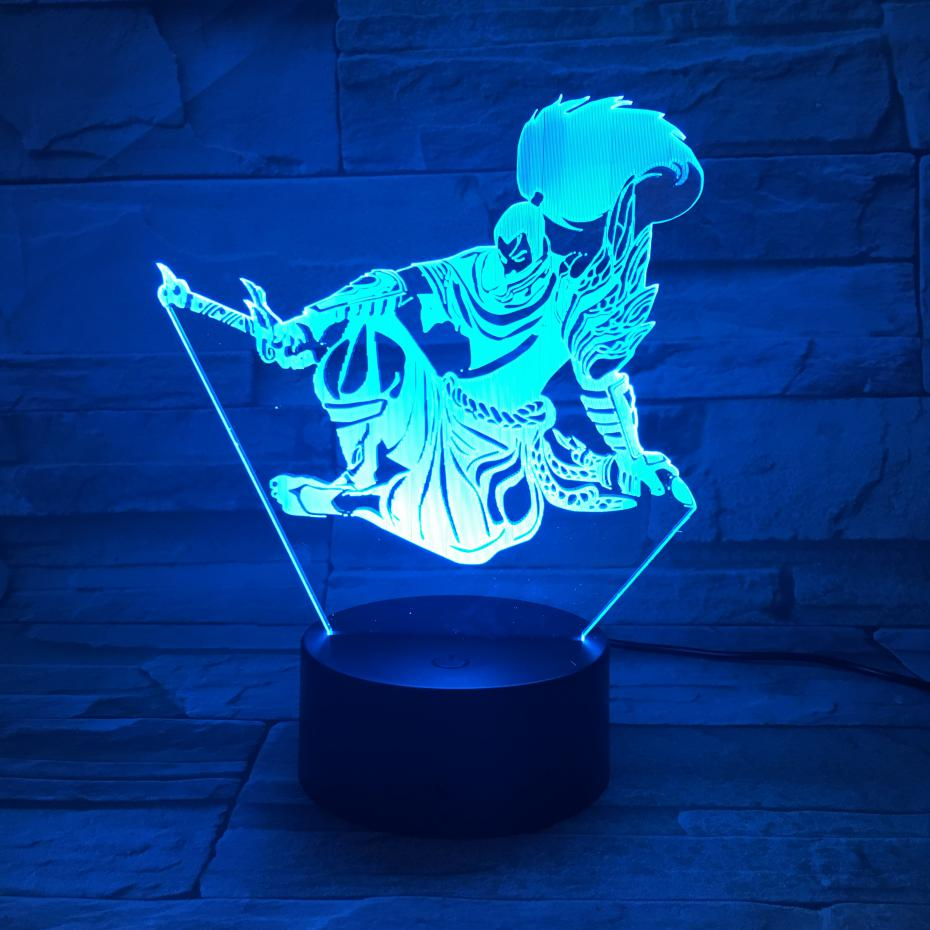 League Of Legends LoL Heros LED Night Light Touch Sensor 7 Color Changing Child Kids The Unforgiven Yasuo Table Lamp Bedroom