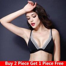 Bra underwear female rimless bra thin section women gather large size full cup