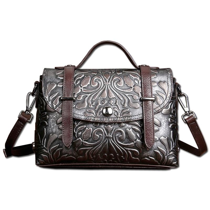 Retro Engraved Flower Genuine Leather Classic Messenger Bag Women's Handbag Ladies Shoulder Bag Satchel Brush Off Flap&Zipper
