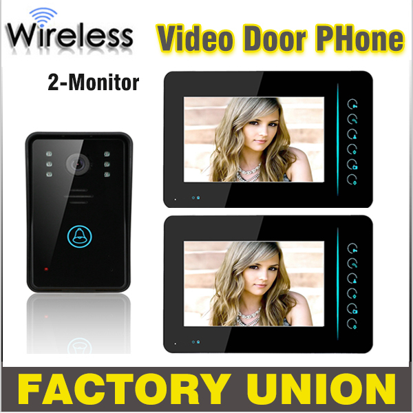 1V2 7 Inch Wireless Video Door Phone Doorbell Intercom Touch Key IR Nigh Vision Waterproof Door Camera Video Intercom System homsecur wired door phone doorbell touch key 7 lcd video intercom ir camera of home intercom 1v2 uk eu domestic delivery