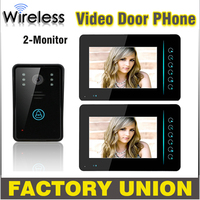 1V2 7 Inch Wireless Video Door Phone Doorbell Intercom Touch Key IR Nigh Vision Waterproof Door Camera Video Intercom System