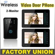 1V2 7 pulgadas Wireless Video de la puerta del timbre del teléfono Intercom llave del tacto del IR Nigh visión impermeable cámara de la puerta sistema de intercomunicación Video
