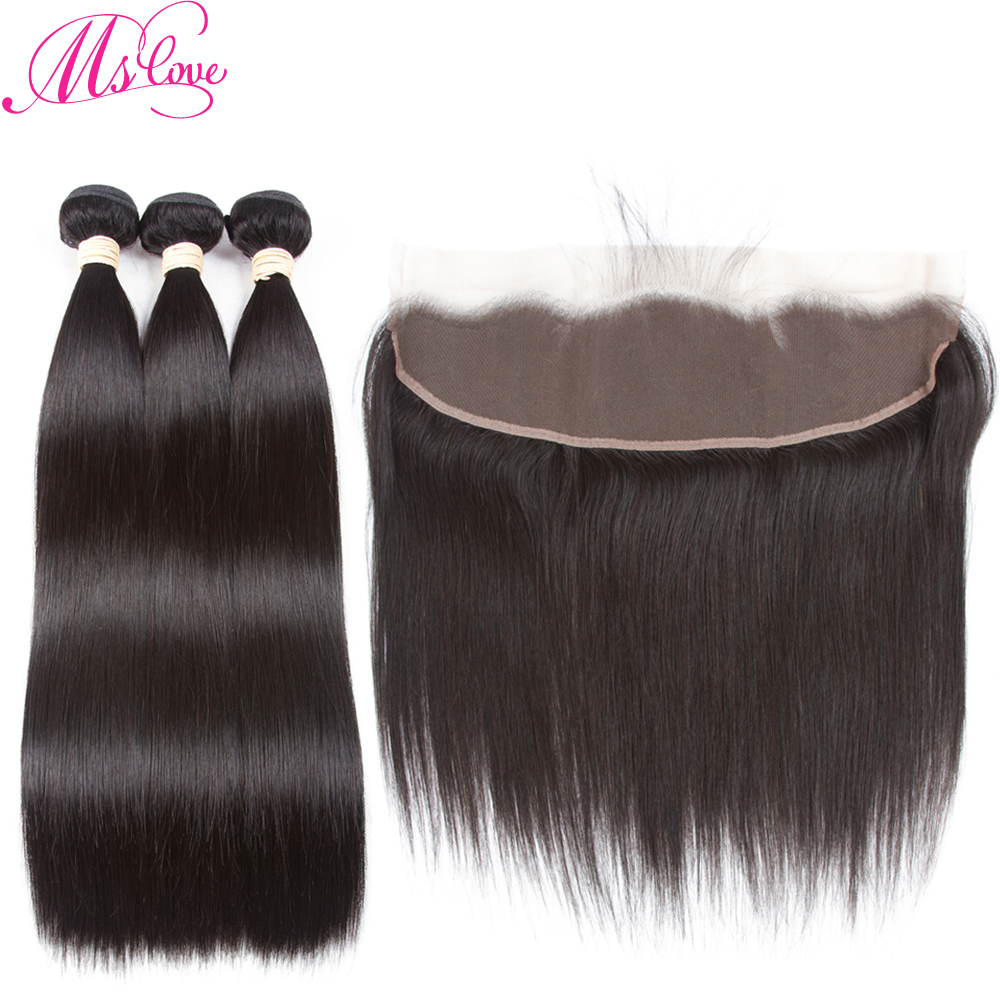 Mslove Indian Hair Straight Bundles With Frontal Non Remy Hair Natural Color Human Hair Bundles With Closure 13x4 Lace Frontal