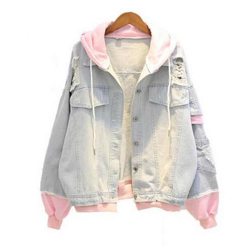 a8545ba361 Autumn Hooded Denim Jacket For Women Casual BF Jeans Jacket Holes Vintage  Harajuku Coat Female loose