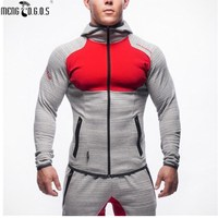 NEW Muscle Brothers 2016 New Men S Sports Sweater Slim Fitness Running Fitness Hoodie Sweater Coat