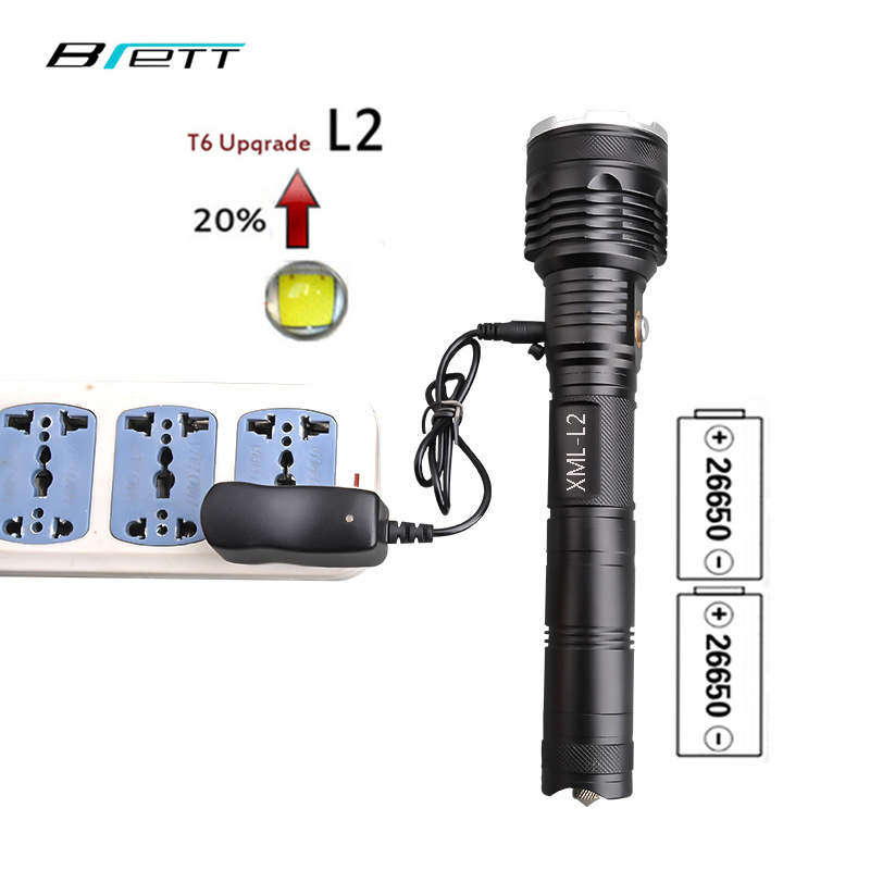 LED torche CREE XM-L2 Direct charging Outdoor Camping Hunting Caving Fishing Shock Resistant Self Defense Tactical flashlight