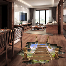цена на Creative 3D simulation small suspension bridge stickers bedroom living room kitchen removable home decoration wall stickers