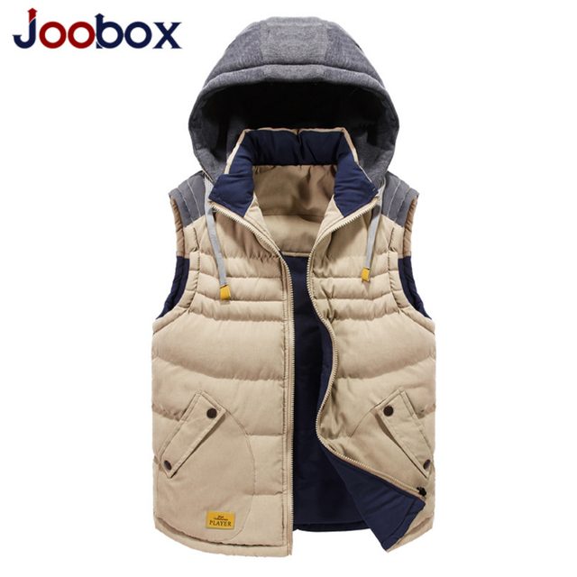JOOBOX 2017 new Winter cotton vest male Slim casual hooded men vest Fashion men's large size Waistcoat winter jacket men (MJ08)
