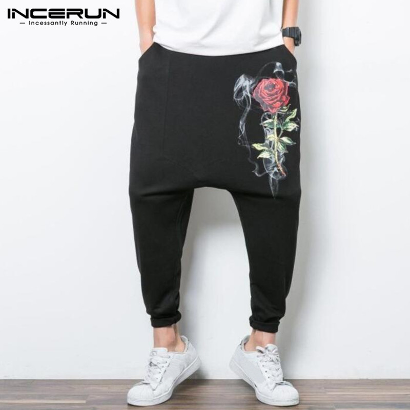 INCERUN Fashion Mens Harem Pants Drop Crotch Cross-pants Baggy Loose Fitness Joggers Sweatpants Man Trousers Pantalones Hombre