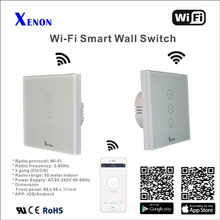 Xenon Light Switch panel smart phone control APP Panel turn on/off switch  WiFi smart remote control wall switch 3 gang EU
