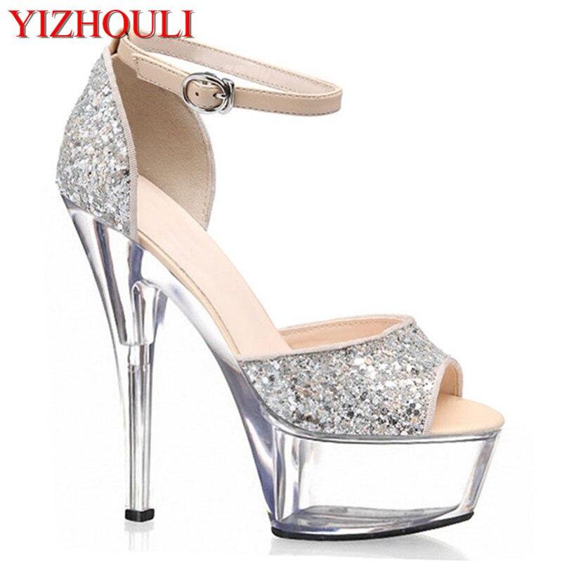 6 Inch Sexy Clubbing High Heels 15cm Platform Sparkling